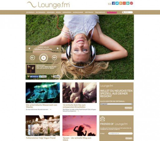 Screenshot der neuen Website von LoungeFM