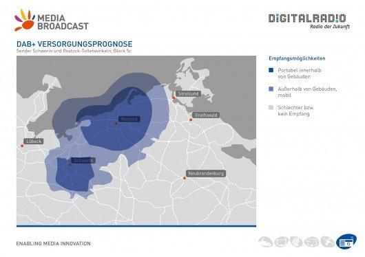 DAB-Empfangsprognose 2014 für Mecklenburg-Vorpommern