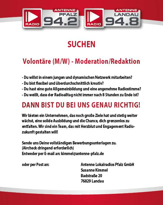 Antenne Pfalz und Antenne Landau suchen Volontäre /m/w) - Moderation/Redaktion