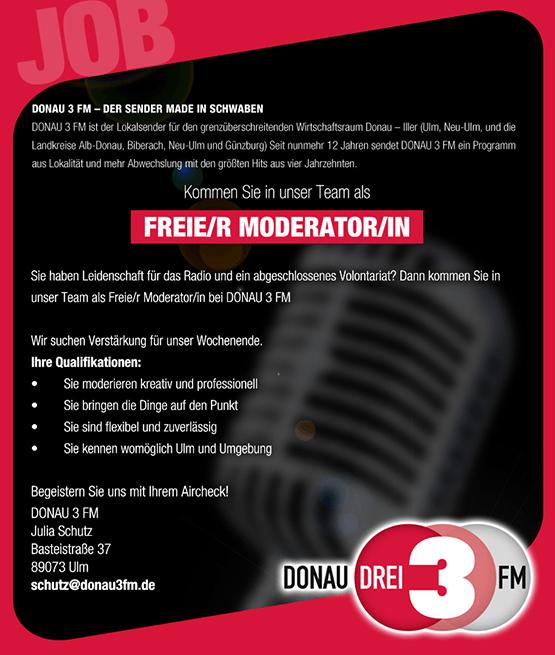 DONAU 3 FM: Kommen Sie in unser Team als freie/r Moderator/in