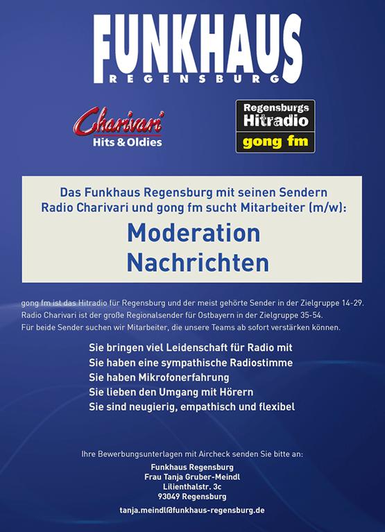 Funkhaus Regensburg sucht Mitarbeiter (m/w): Moderation / Nachrichten