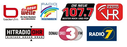Logos der acht neuen Digitalradio-Sender in BW