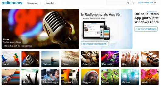 Screenshot Radionomy-Website