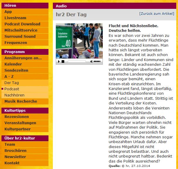 Screenshot - hr2 Der Tag zum Nachhören im Netz:Ganz oder gar nicht. Eine Stunden-Sendung am Stück ohne Kapitelmarken. Selbstbestimmt hören geht anders.