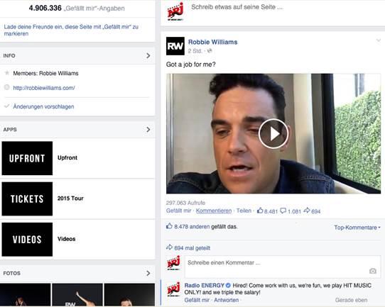 Robbie Williams sucht einen Jon In Deutschland