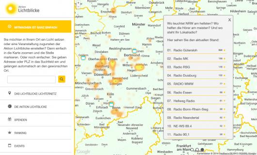 Screenshot http://lichternetz.lichtblicke.de mit Ranking der Radiosender.