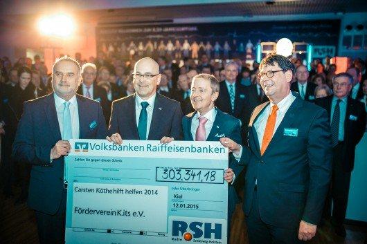 Axel Hose (R.SH), Torsten Albig, Ministerpräsident SH,  Carsten Köthe, R.SH-Moderator, Dr. Martin Brandt, Vorstand Volksbank Lübeck. Foto: R.SH
