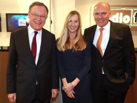 Stephan Weil (Ministerpräsident Niedersachsens), Ina Tenz (ffn-PD), Harald Gehrung (ffn-GF)