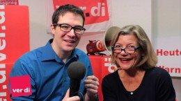 Anja Arp und David Jacobs moderieren im Video von ver.di. Quelle: ver.di Senderverband WDR