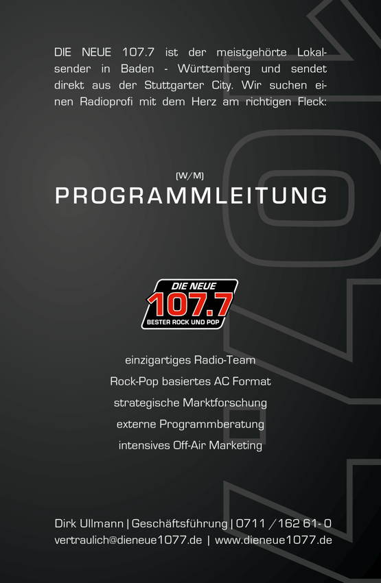 DIE NEUE 107.7 sucht Radioprofi für Programmleitung (m/w)
