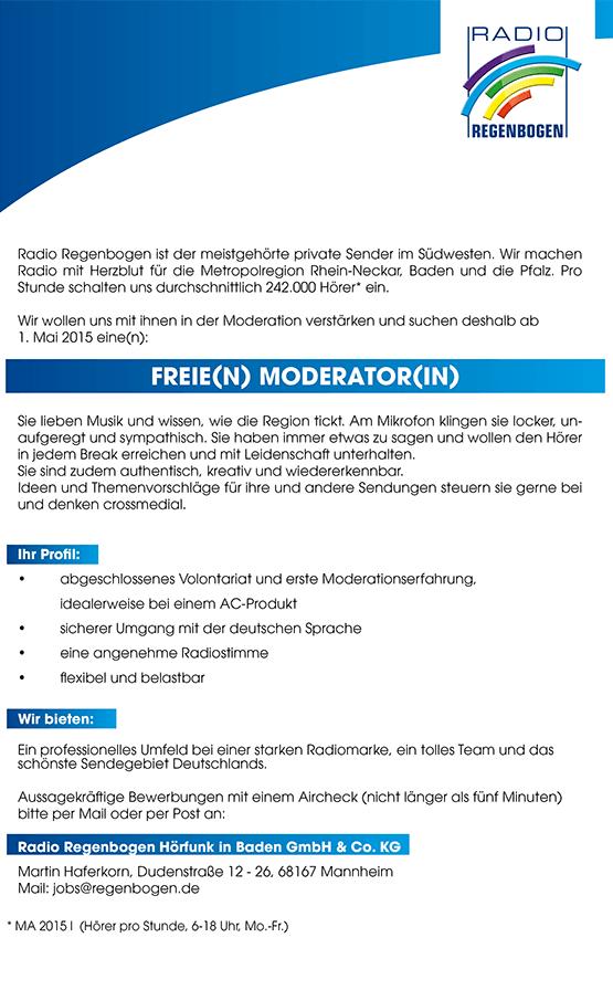 Radio Regenbogen sucht freie(n) Moderator(in)