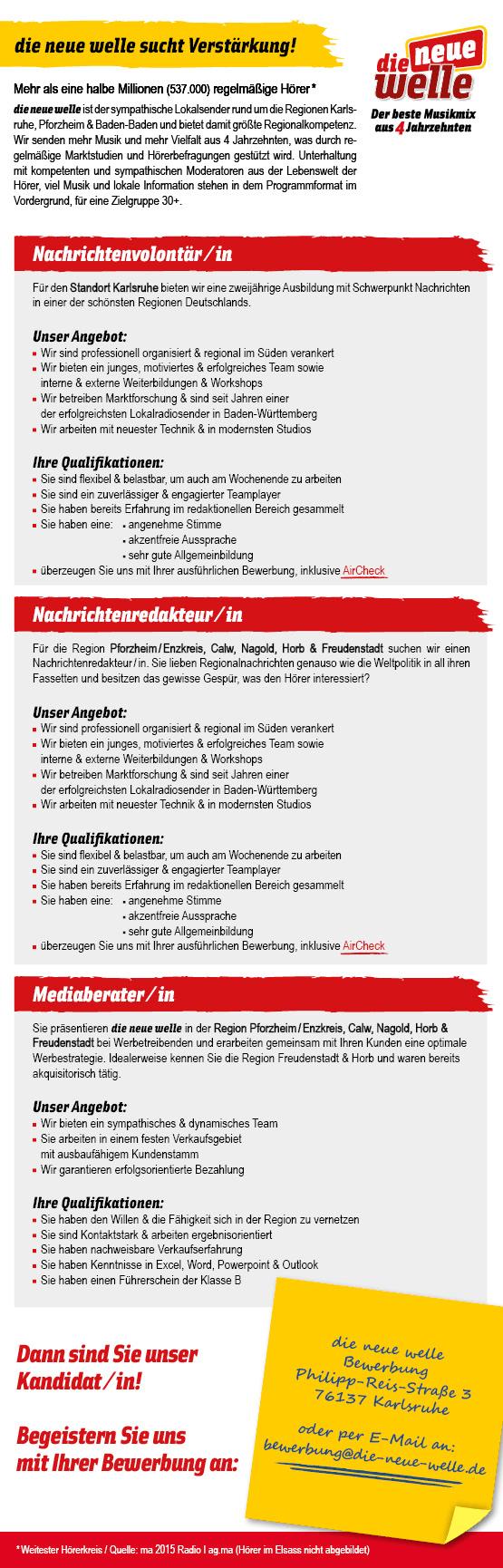 die neue welle sucht Nachrichtenvolontär/in, Nachrichtenredakteur/in und Mediaberater/in
