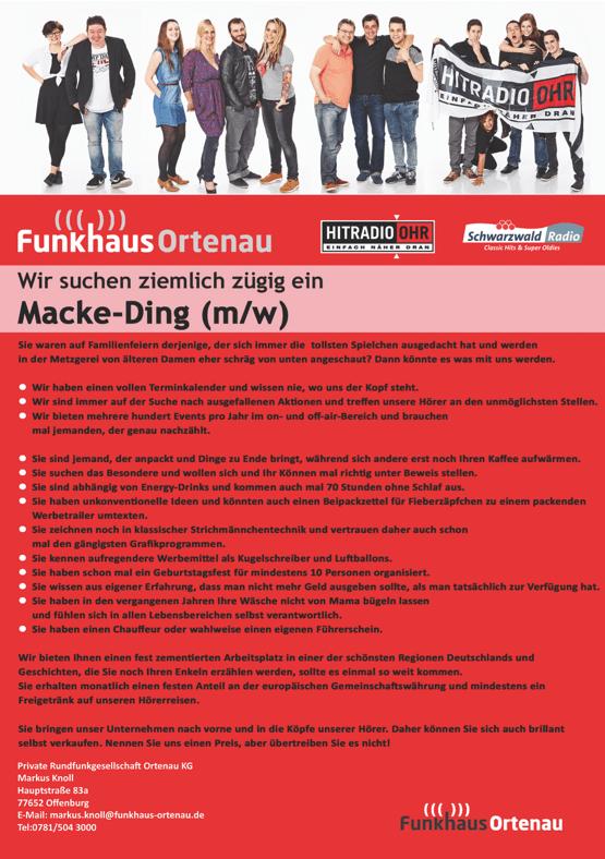 Funkhaus Ortenau sucht ziemlich zügig ein Macke-Ding (m/w)