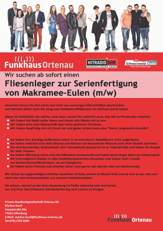 Funkhaus Ortenau sucht ab sofort einen Fliesenleger zur Serienfertigung von Makramee-Eulen (m/w)