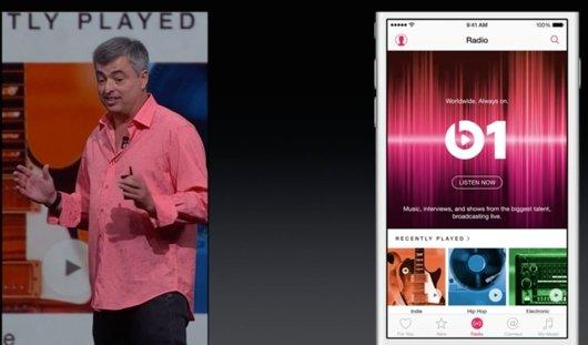 Apple stellt Beats 1 vor (Screesnhot von WWDC Keynote. 8. Juni 2015)