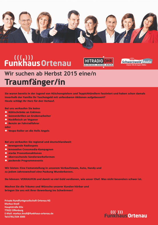 Funkhaus Ortenau sucht ab Herbst 2015 ein/n Traumfänger/in