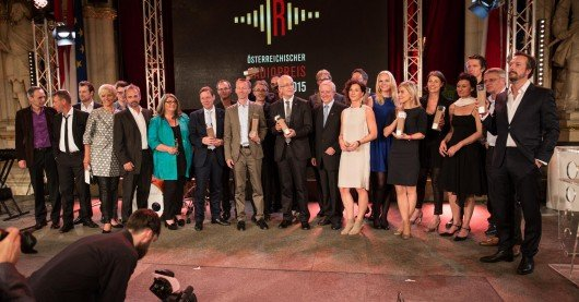Gruppenbild: Die Preistäger des Österreichischen Radiopreises 2015. Foto: Fachhochschule St. Pölten - Manuel Pammer