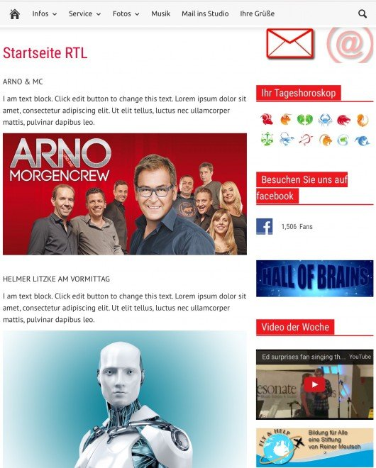 Screenshot der Seite http://rtlradio.de/startseite-rtl/