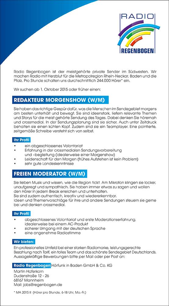 Radio Regenbogen sucht Redakteur Morgenshow (w/m) und freien freien Moderator /m/w)