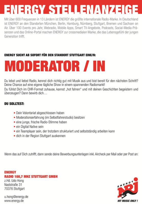 ENERGY Stuttgart sucht Moderator/in