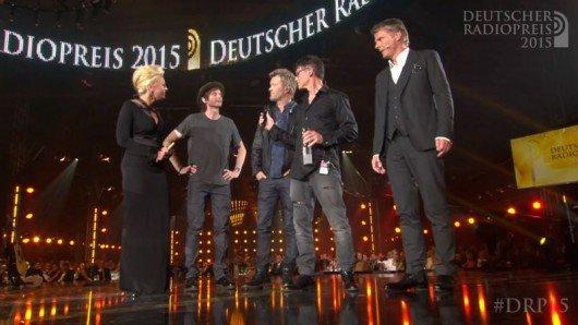 Barbara Schöneberger, a-ha und Jörg Pilawa (Bild: Deutscher Radiopreis)