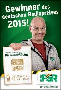 Moderator Steffen Lukas und die App von Radio PSR.