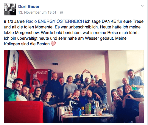 Dori Bauer verlaesst ENERGY 104,2 in Wien (Bild: Facebook.com)