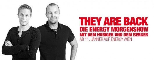 Sie sind zurück: Hobinger und Berger machen die neue ENERGY-Morgenshow ab 11. Januar 2016.