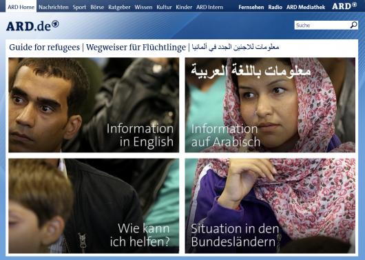 Homepage der ARD für Flüchtlinge. Screenshot: http://refugees.ard.de