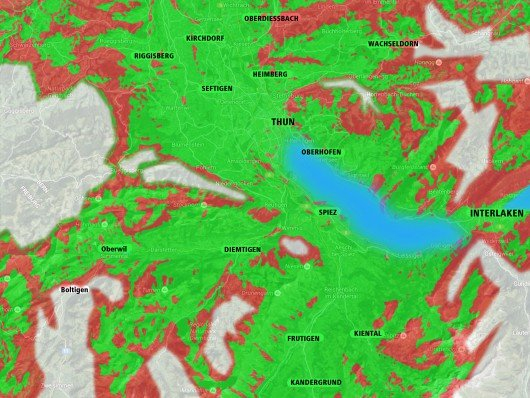 Prognoseskizze eines neuen DAB-Netzes im Berner Oberland.