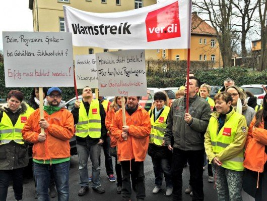 Antenne Thüringen-Mitarbeiter im Warnstreik am 7.12.2015 (Bild: M. Helfensritter / verdi)