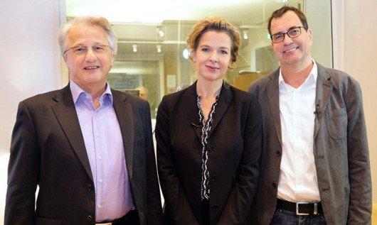 WDR 3-Programmchef Karl Karst, WDR-Hörfunkdirektorin Valerie Weber und WDR 5-Programmchef Florian Quecke. (Bild: WDR/Herby Sachs)