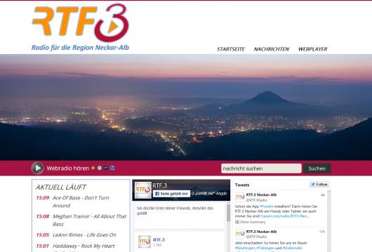 Homepage und Social Media Kanäle des neuen Senders. Quelle: Screenshot www.rtf3.de