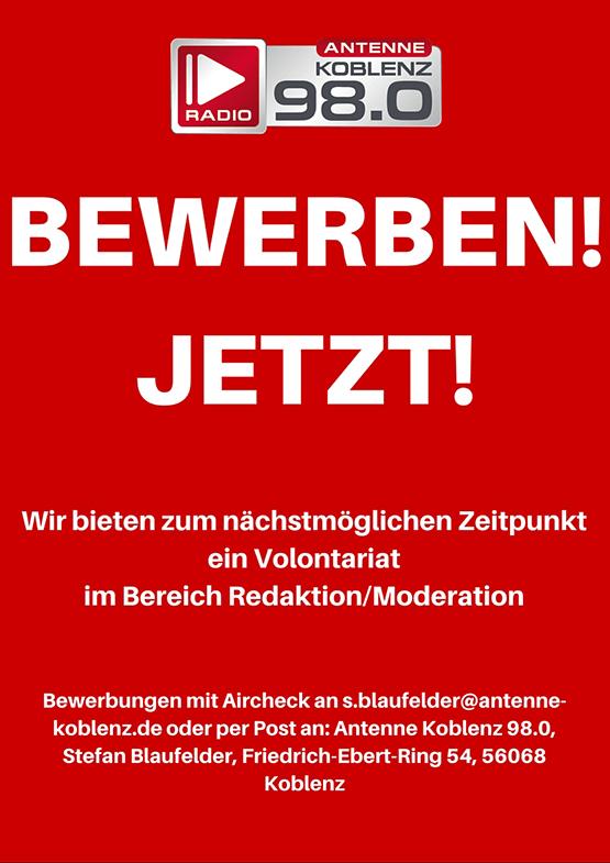 ANTENNE KOBLENZ sucht Volontär im Bereich Redaktion/Moderation