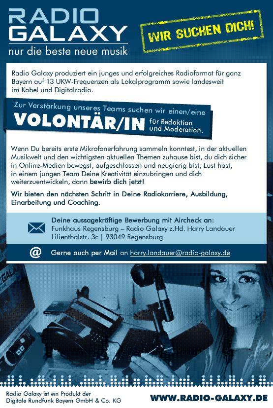 Radio Galaxy sucht Volontär/in für Redaktion und Moderation