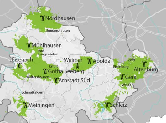 Ehemalige KlassikRadio-Senderstandorte in Thüringen (Quelle: klassikradiodirekt.de)