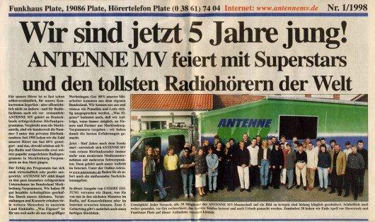 B-98-05-31-Antenne MV-5 Jahre-Zeitung