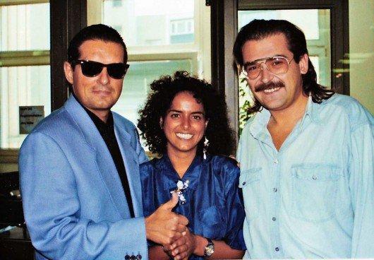 Sänger Falco, Yvonne Malak und Arno Müller (von links)