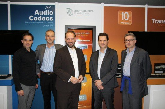 Gregory Mercier, Simon Daniels (beide WorldCast Systems), Michael Radomski, (UPLINK); Christophe Poulain (WorldCast Systems) and Thomas Weiner (UPLINK)