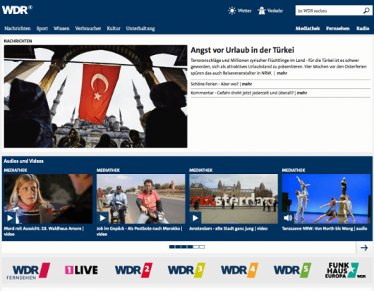 Screenshot der neuen WDR-Website