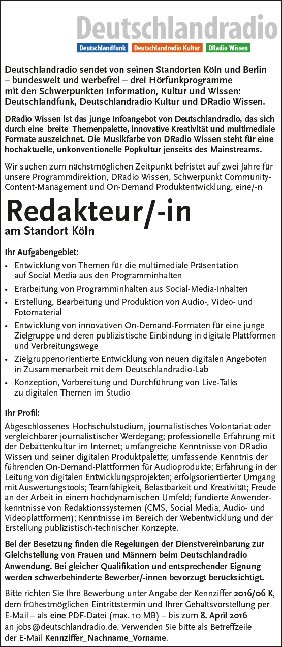 deutschlandradio sucht redakteur in am standort k ln radioszene. Black Bedroom Furniture Sets. Home Design Ideas