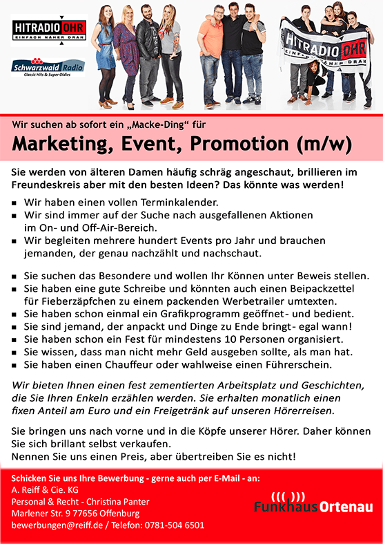 "Funkhaus Ortenau sucht ""Macke-Ding"" für Marketing, Event, Promotion (m/w)"