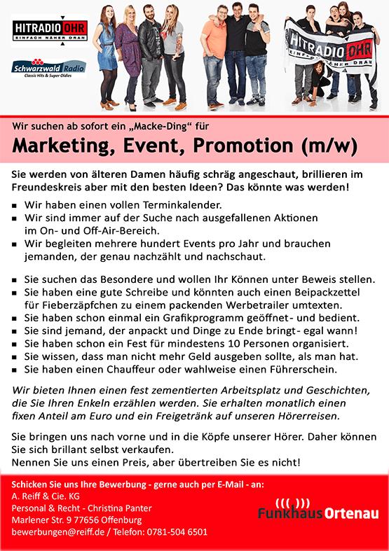 "Funkhaus Ortenau sucht ""Macke-Ding"" für Marketing, Event, Promotion (m/w)"