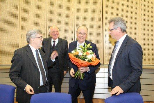 von links: Dr. Erich Jooß (Vors. Medienrat; Manfred Nüssel, Vors. Verwaltungsrat; Martin Gebrande, Geschäftsführer; Siegfried Schneider, Präsident). Foto: BLM