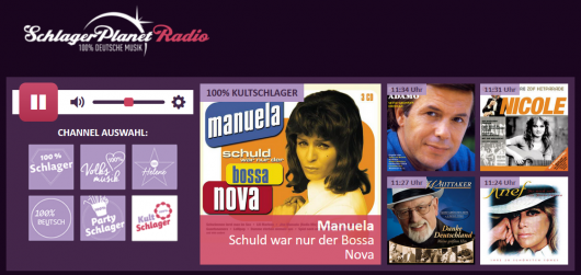Screenshot http://radio.schlagerplanet.com