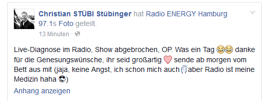 Facebook-Post von Stübi
