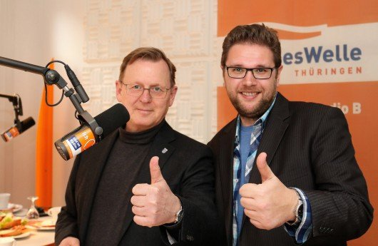 Ministerpräsident Bodo Ramelow und LandesWelle-Morgenmoderator Timo Hartmann. Foto: LandesWelle
