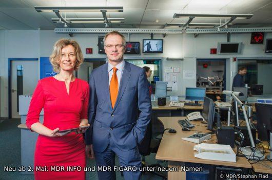 Jana Hahn (Chefin des MDR-Nachrichtenradios und 2. MDR-Chefredakteurin) und Stefan Raue (1. MDR-Chefredakteur). (Bild: © MDR/Stephan Flad)