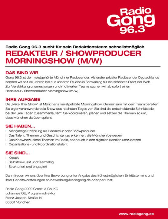 Radio Gong 96.3 sucht Redakteur/Showproducer Morningshow (m/w)