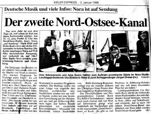 Zeitungsartikel aus dem Kieler Express vom 3. Januar 1996